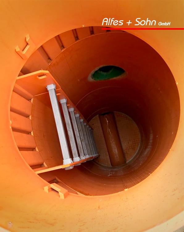 Alfes + Sohn GmbH Leistungen | Aufnahme sanierter Schacht von oben