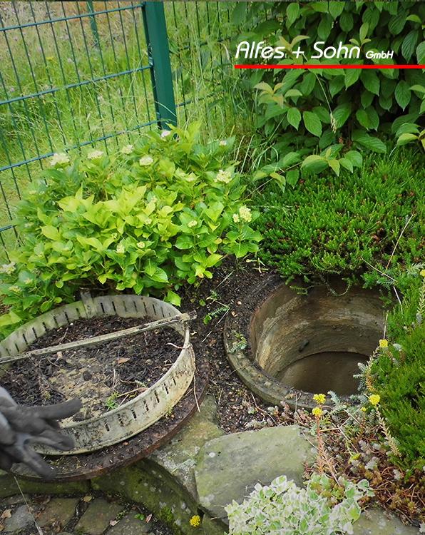Alfes + Sohn GmbH Referenzen | Aufnahme offener Kanaldeckel in einem Gartenbeet