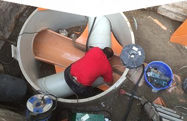 Aufnahme Baugrube von oben während der Schachtsanierung
